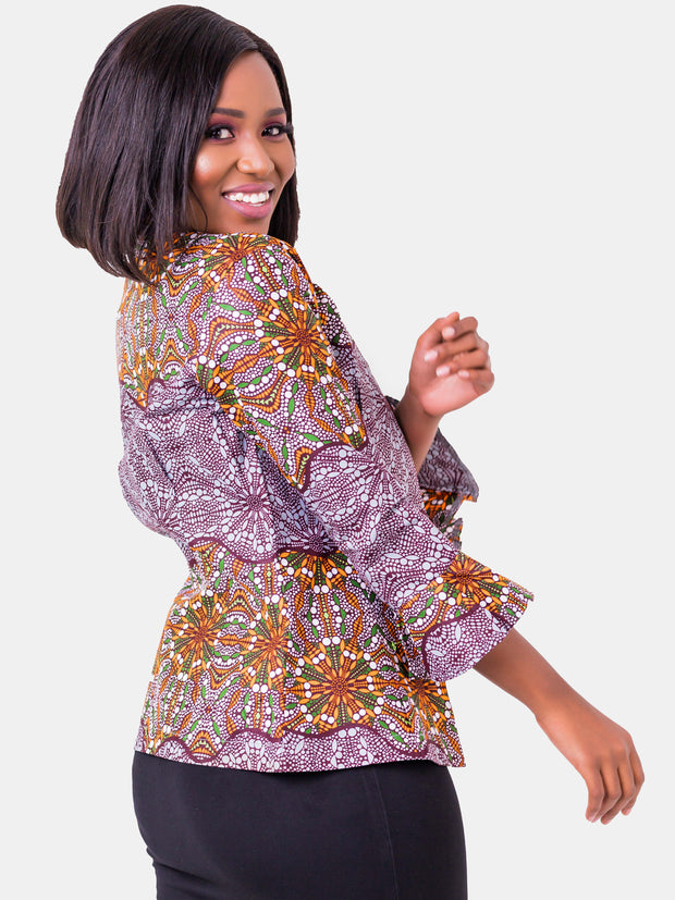 Kidosho Pambo Short Coat - Brown Print