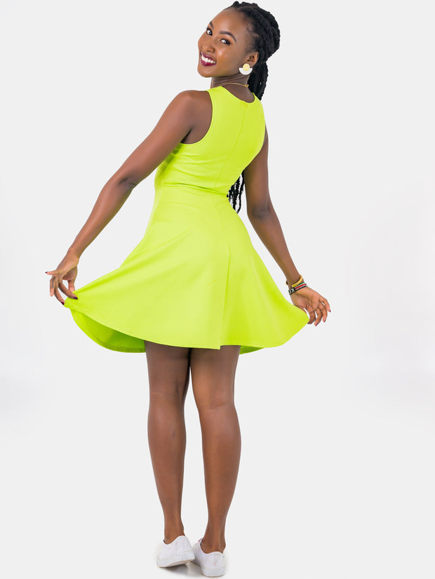 Zetu Scuba Halterneck Circular Dress - Lime Green