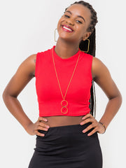 Zetu Boundneck Ribbed Crop Top - Red - Shop Zetu