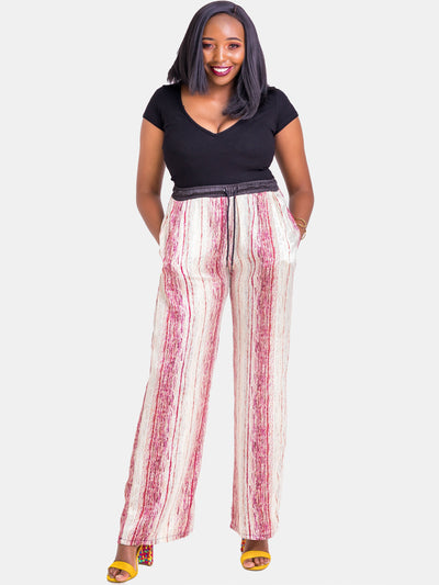 Vivo Hijabeefied Regular Satin Pants - Pink Print
