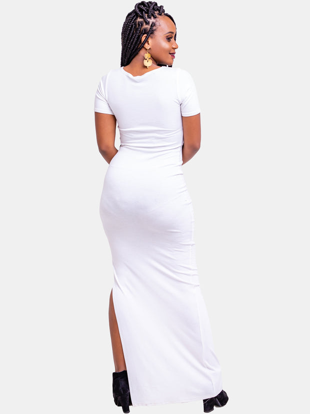 Zetu Side Slit Maxi Bodycon - White - Shop Zetu