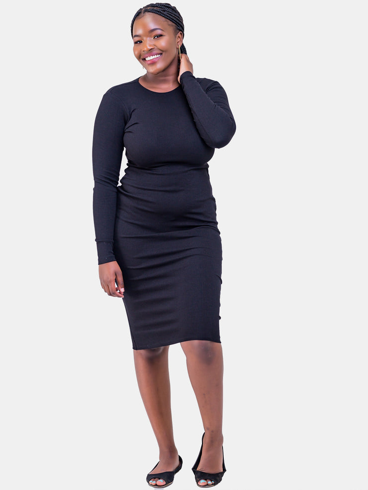 Zetu Ribbed Long Sleeve Crew Neck Midi Bodycon - Black - Shop Zetu