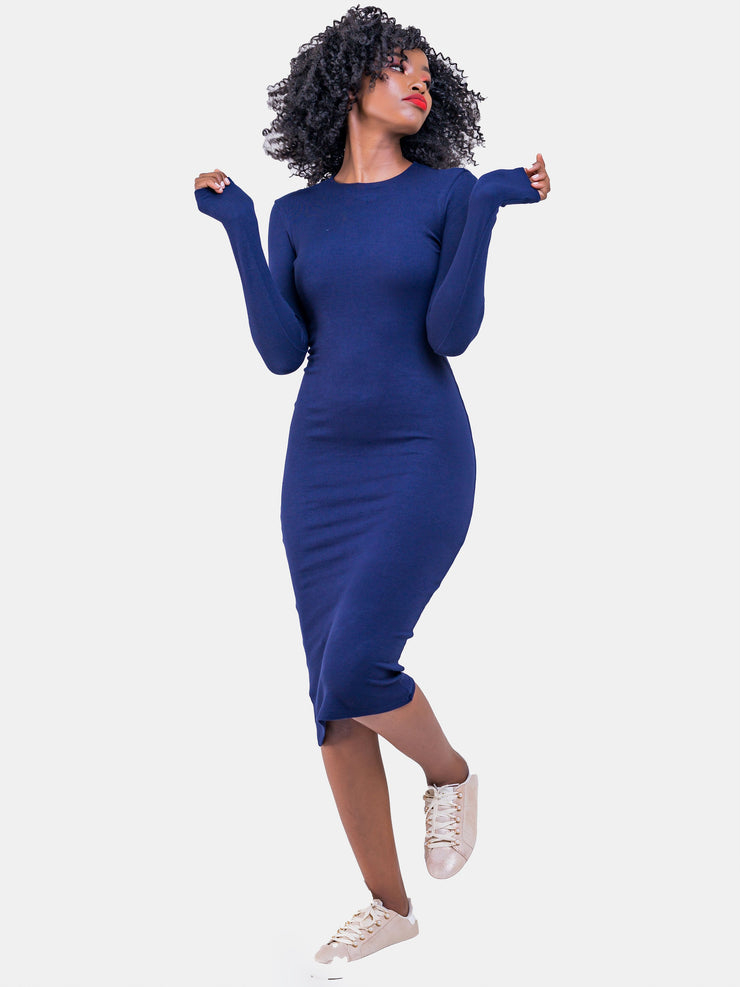 Zetu Ribbed Long Sleeve Crew Neck Midi Bodycon - Navy Blue