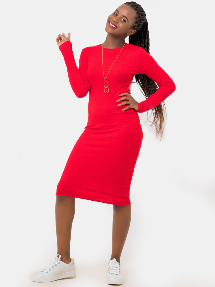 Zetu Ribbed Long Sleeve Crew Neck Midi Bodycon - Red