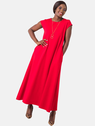 Vivo Kena Tent Maxi Dress - Red