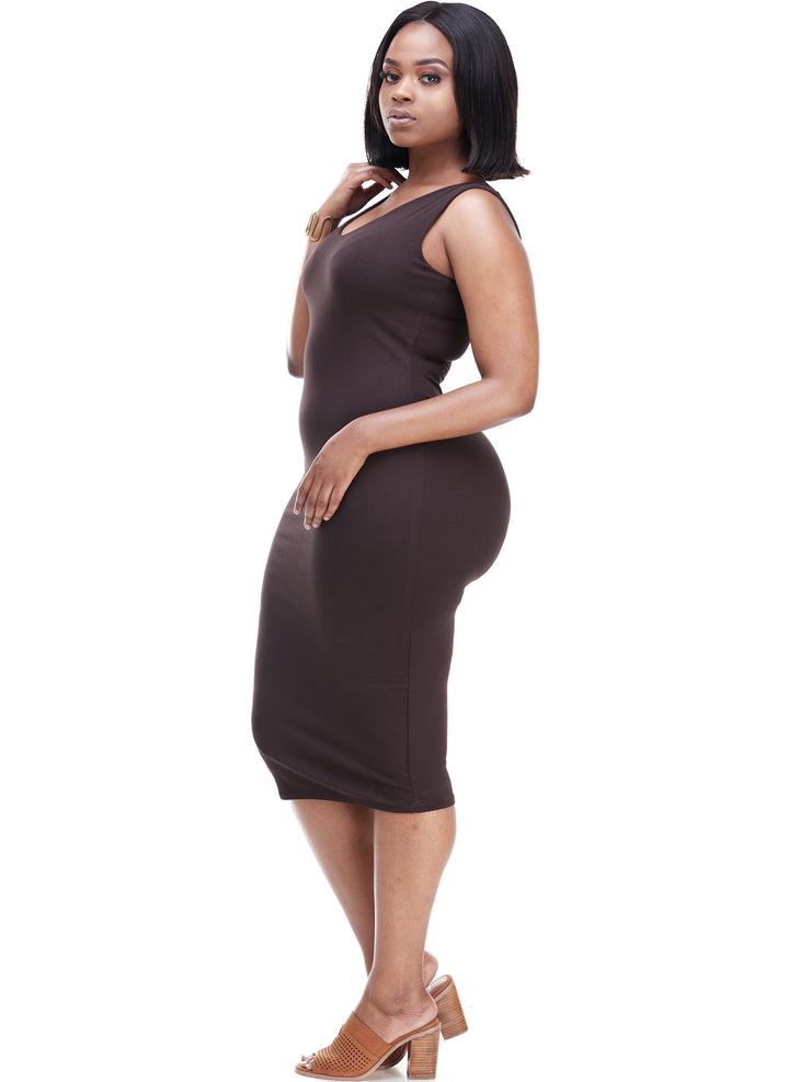 Vivo Basic Sleeveless Double Layered Bodycon - Chocolate