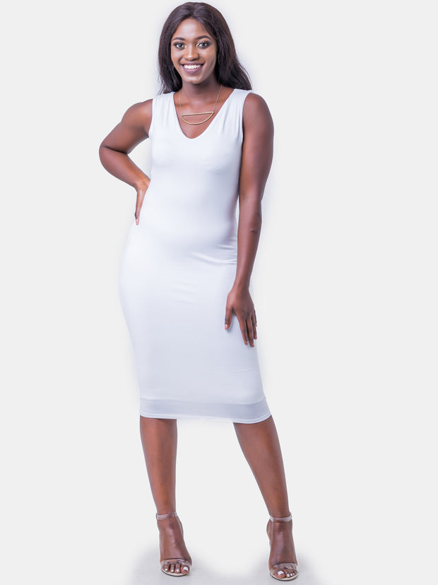 Vivo Sleeveless Double Layered Bodycon - White