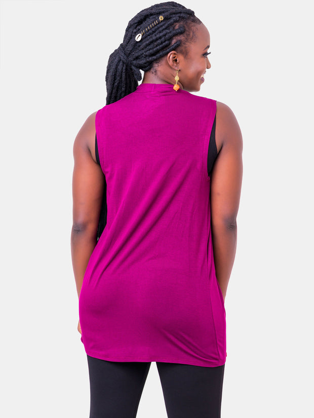 Vivo Basic Sleeveless Jersey Waterfall - Burgundy - Shop Zetu