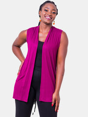 Vivo Basic Sleeveless Jersey Waterfall - Burgundy