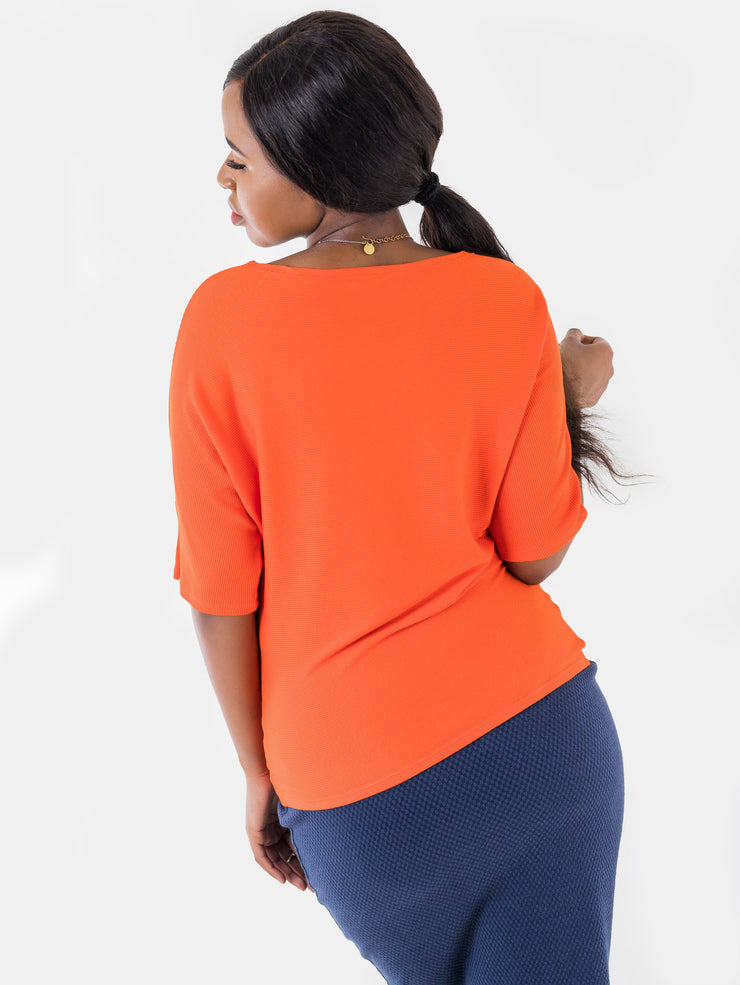 Vivo Basic Sienna Ribbed Top - Orange