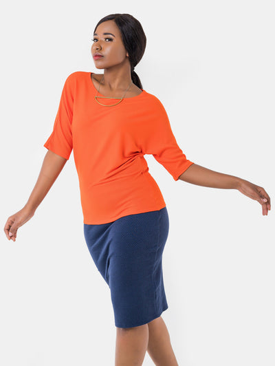 Vivo Sienna Ribbed Top - Orange - Shop Zetu