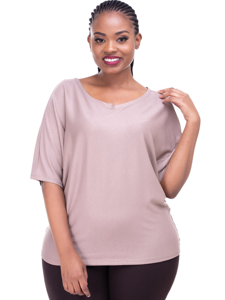 Vivo Sienna Ribbed Top - Taupe - Shop Zetu