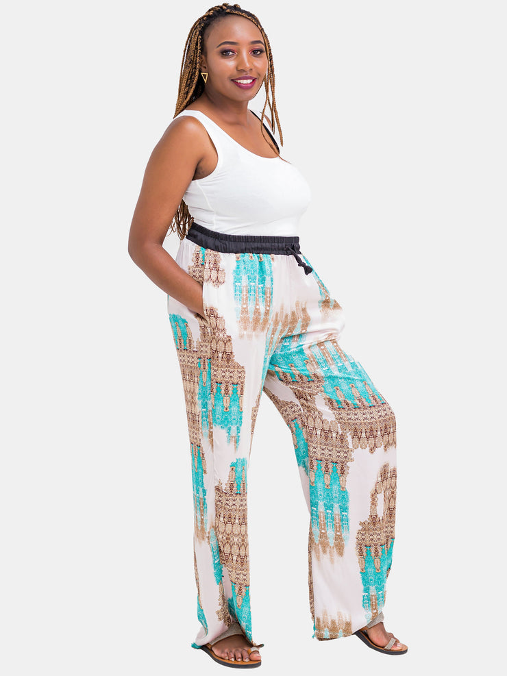 Hijabeefied Long Satin Pants - Sea Green - Shop Zetu