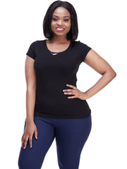 Vivo Basic Val Cap Sleeve Top - Black