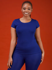 Vivo Basic Val Cap Sleeve Top - Royal Blue