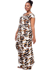 Vivo Diani V-Neck Tent Maxi Dress - Chocolate Print