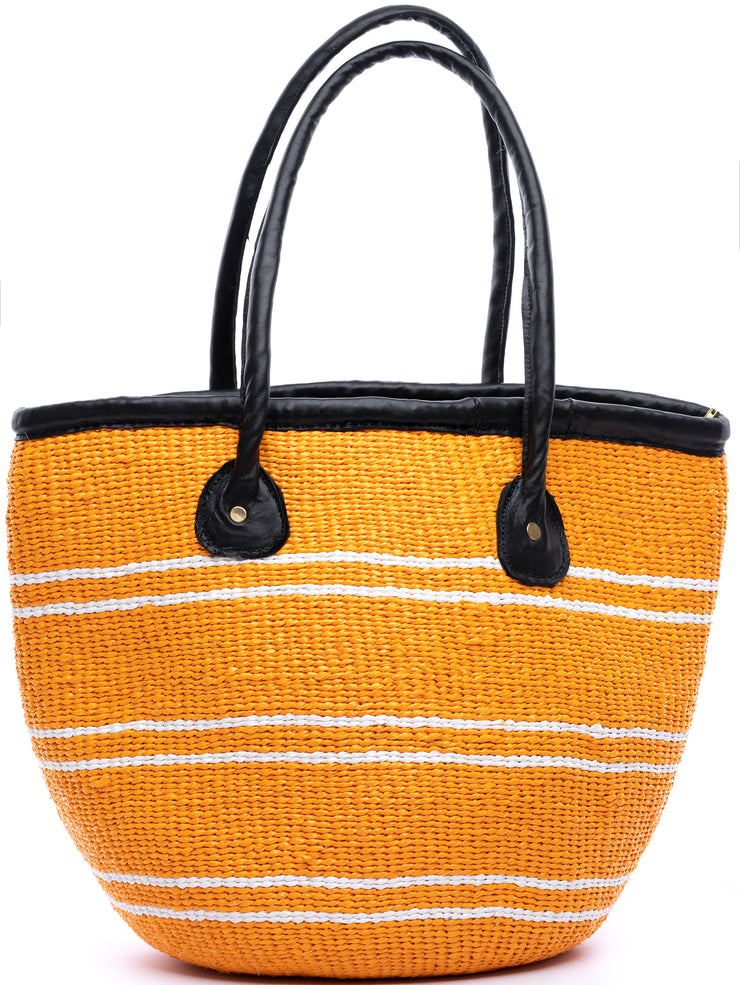"Crafts with Meaning 12"" Kiondo - Orange / White Thin Stripes"