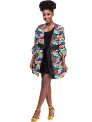 Kidosho Pambo Puffed Sleeve Coat - Sea Green / Grey Print