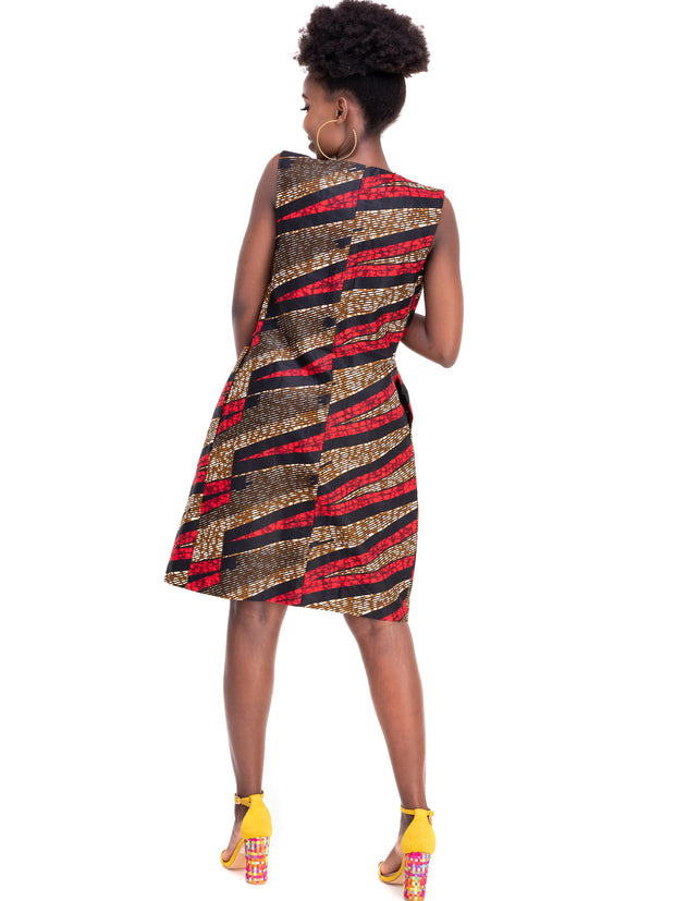 Kidosho Pambo Lined Vest Coat - Red / Brown Print