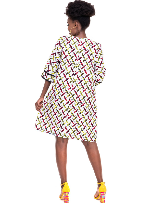 Kidosho Pambo 3/4 Sleeve Shift Dress - White / Red Print
