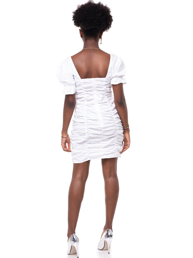 ForKeeps Shirred Bodycon Dress - White
