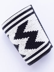 House Of Brass Wavy African Beaded Cuff - Black / White Print