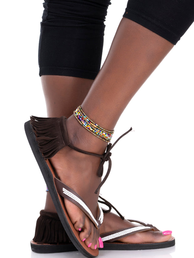 Ikwetta Boho Chic Sandals - Chocolate