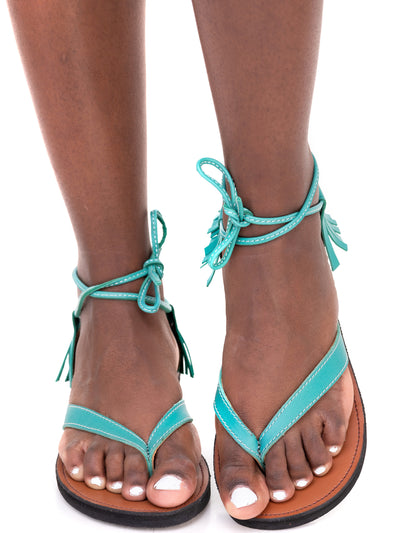 Ikwetta Boho Chic Sandals - Light Blue
