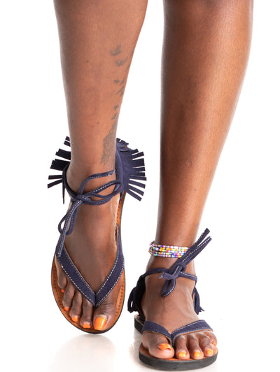 Ikwetta Boho Chic Sandals - Navy Blue
