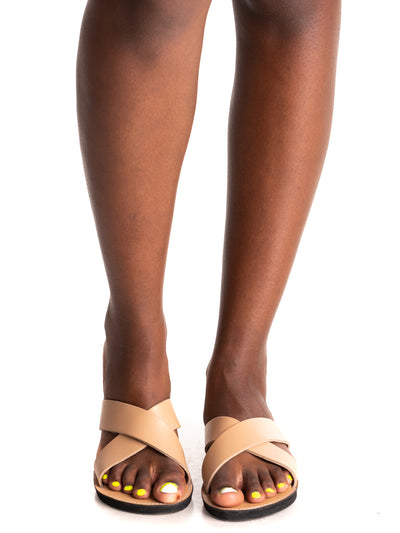 Ikwetta Pop N Slide Sandals - Beige