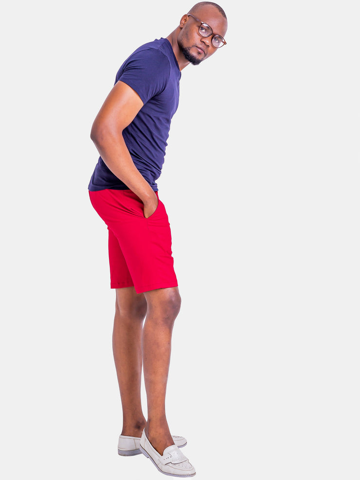 Zetu Men's Fitted Khaki Shorts -Red
