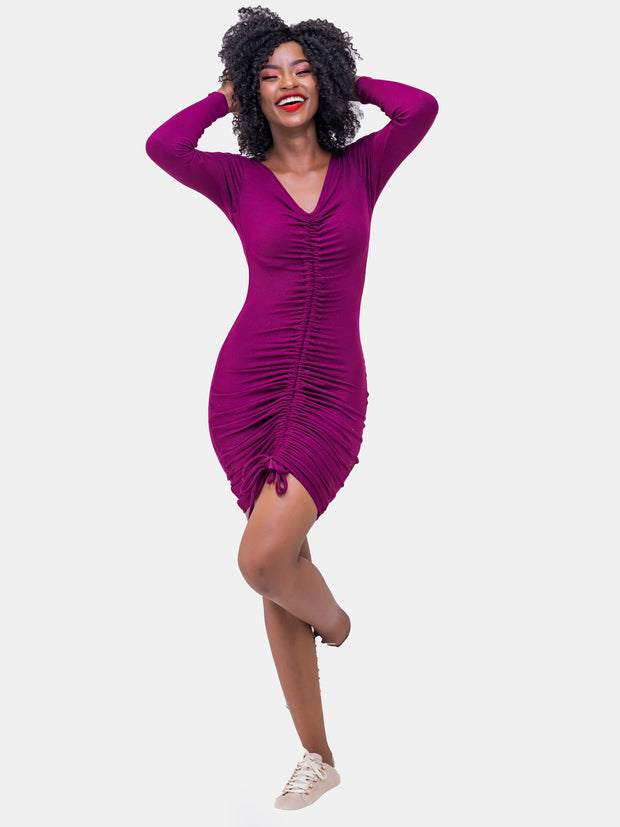 Zetu Ribbed Rouched Bodycon