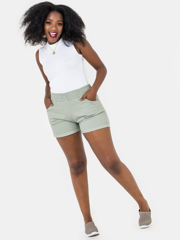 Zetu Khaki Basic Draw String Shorts - VivoWoman