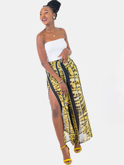 Zetu Front Back Tie Chiffon Pants - Yellow Print - Shop Zetu