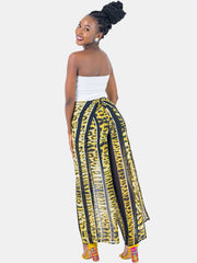 Zetu Front Back Tie Chiffon Pants - Yellow Print