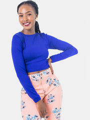 Zetu Long Sleeve Crewneck Crop Top - Royal Blue - Shop Zetu