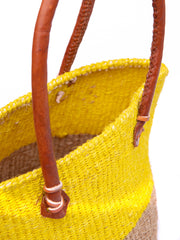 Erikas's Antique Sisal Basket - Yellow / Brown