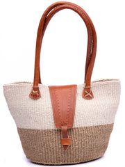 Erika's Antique Sisal Flap Basket - White / Brown