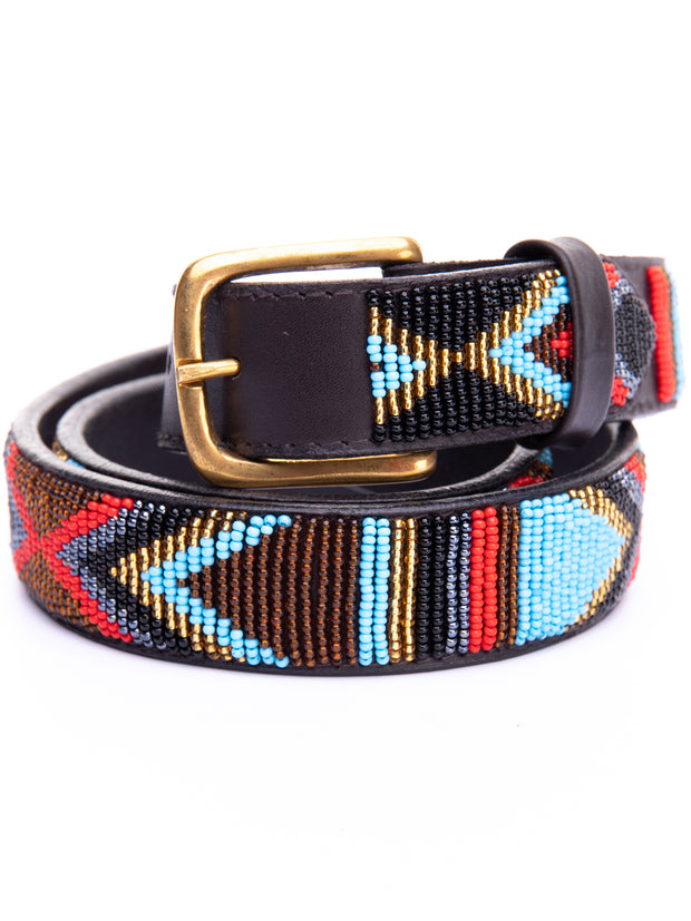 Azu Casual 4 Cm Beaded Belts - Brown / Light Blue Print