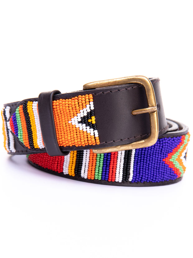 Azu Casual 4 Cm Beaded Belts - Orange / Blue Print