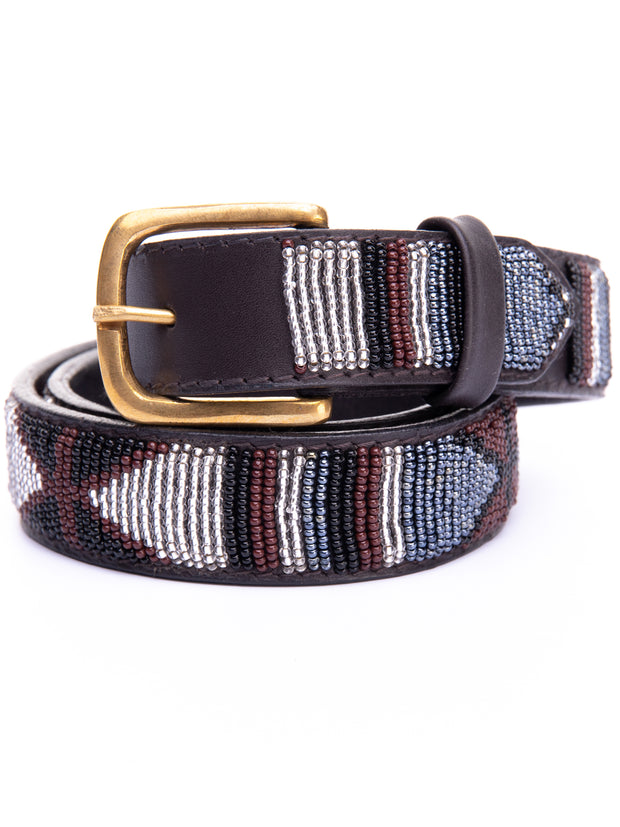 Azu Casual 3 Cm Beaded Belts - Brown Print