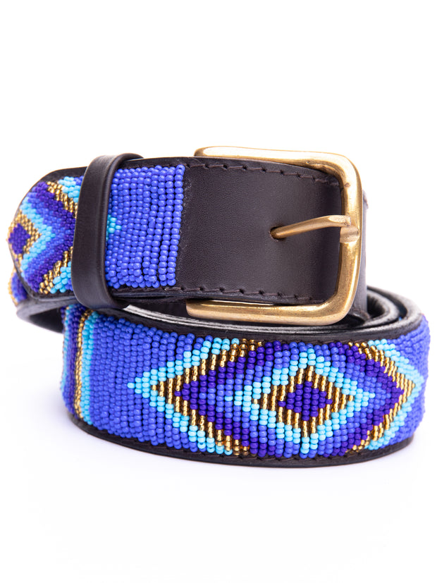 Azu Casual 3 Cm Beaded Belts - Navy / Light Blue Print