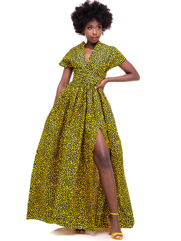 African Yuva Nekesa Infinity Dress - Yellow Print