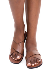 Oye Africa Cross Strap Sandals - Brown