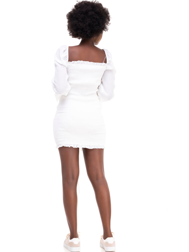 ForKeeps Shirring Dress - White