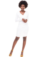 ForKeeps Slinky Wrap Bodycon Dress - White
