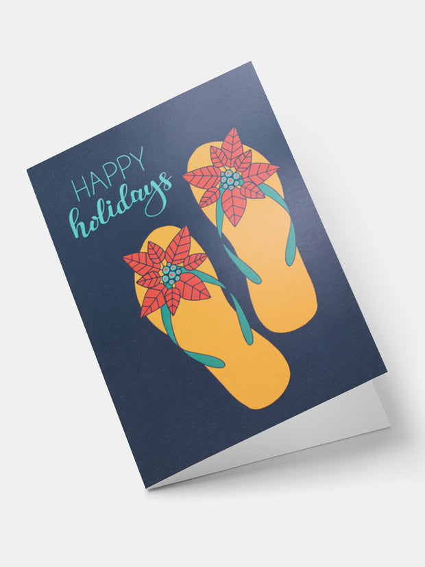 Lulu Poinsettia Flip Flops Greeting Cards - Navy Blue
