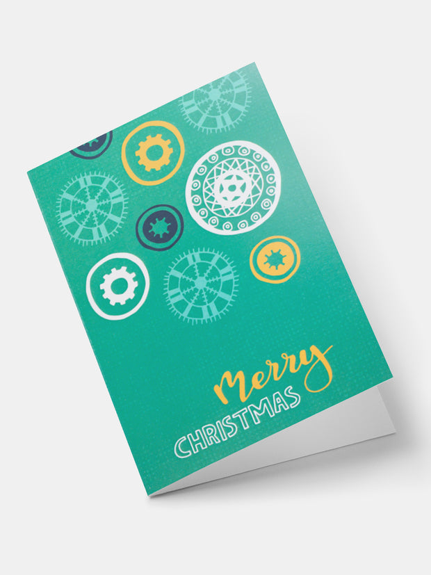 Lulu African Snowflakes Greeting Cards - Green