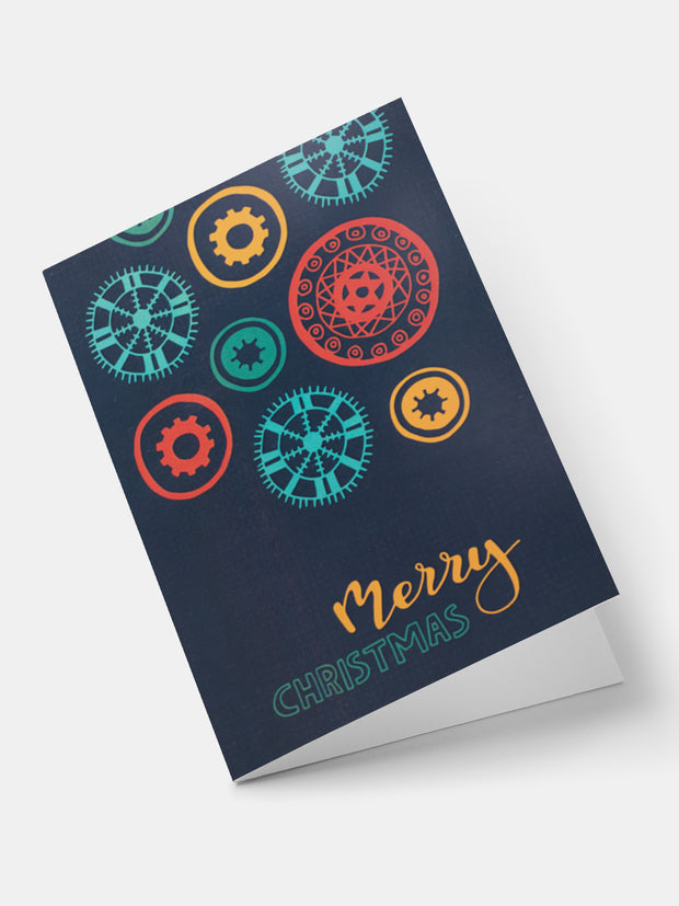 Lulu African Snowflakes Greeting Cards - Navy blue