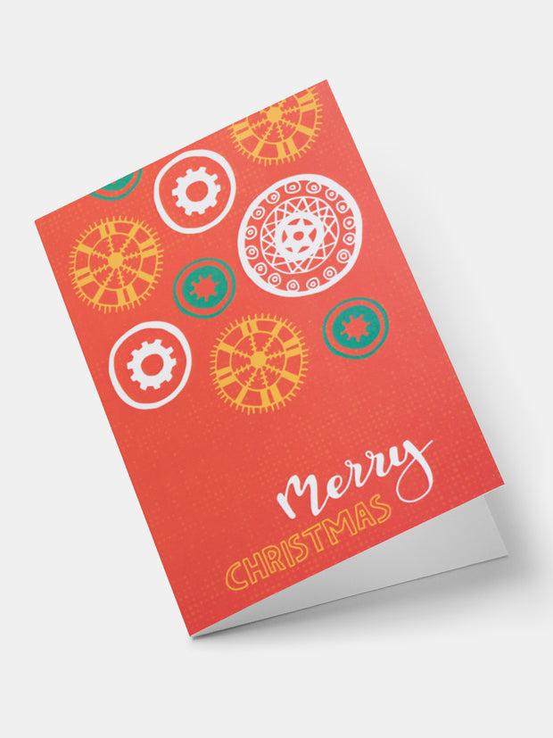 Lulu African Snowflakes Greeting Cards - Red
